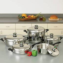 """10pc 12-Element """"Waterless"""" T304 Stainless Steel Cookware Set with Thermo Control Knobs"""
