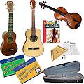 Introduction to Strings Deluxe Pack - Violin 1/8, Ukulele, Nylon Guitar & Harp - Introduction to Strings Deluxe Pack includes Beginner Violin 1/8, Soprano Ukulele, Student Nylon Guitar, Melody Harp, Violin Primer Book, Guitar Tab Pocketbook and Ukulele Pocketbook.