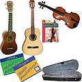 Learn 2 Play Series String Pack - Includes Student Nylon Guitar, Student Violin (1/2 Size) & Soprano - Learn 2 Play Series Guitar Pack includes Student Violin 1/2, Soprano Ukulele, Student Nylon Guitar, Violin Primer Book, Guitar Tab Pocketbook and Ukulele Pocketbook.