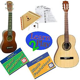 Learn 2 Play Series Guitar Pack Deluxe - Includes Student Nylon Guitar, Melody Harp & Soprano Ukulel Learn 2 Play Series Guitar Pack Deluxe includes Soprano Ukulele, Student Nylon Guitar, Melody Harp, Guitar Tab Pocketbook and Ukulele Pocketbook.