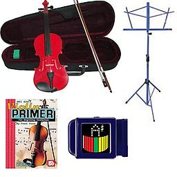 Acoustic Electric Violin Pack Red- Full Size Violin w/Pickup, Music Stand, Book & Tuner Acoustic Electric Violin Pack includes Red- Full Size Violin w/Pickup, Music Stand, Book & Tuner.