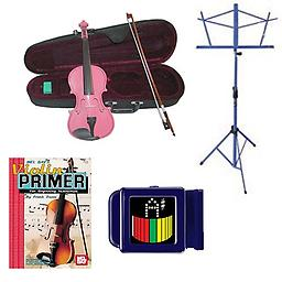Acoustic Electric Violin Pack Pink- Full Size Violin w/Pickup, Music Stand, Book & Tuner Acoustic Electric Violin Pack includes Pink- Full Size Violin w/Pickup, Music Stand, Book & Tuner.