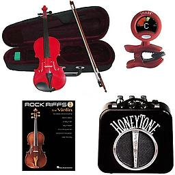 RockStar Violin Pack Red- Acoustic Electric Violin w/Pickup, Mini Amp, Violin Tuner/Metronome & Rock RockStar Violin Pack includes Red- Acoustic Electric Violin w/Pickup, Mini Amp, Violin Tuner/Metronome & Rock Riffs Violin Book.