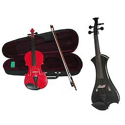 Electric Violin & Acoustic Violin 2 Pack - Meisel Spitfire Electric Violin (Metallic Black) w/ Red A Electric Violin & Acoustic Violin 2 Pack includes Meisel Spitfire Electric Violin (Metallic Black) w/ Red Acoustic Violin.