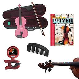 Violin for Beginners Pack - Pink Violin (Full Size), Finger Markers, Violin Primer Book, Tuner & Mut Violin for Beginners Pack includes Pink Violin (Full Size), Finger Markers, Violin Primer Book, Tuner & Mute.