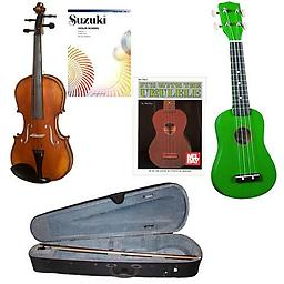 Children's Beginner Violin/Ukulele Pack - 1/2 Size Violin & Green Ukulele w/Beginner Violin Book & B Children's Beginner Violin/Ukulele Pack includes 1/2 Size Violin & Green Ukulele w/Beginner Violin Book & Beginner Ukulele Book.
