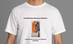 Ex-Offender Resource Network, Inc. T-Shirt 50/50 Cotton Blend Gildan Men's T-Shirts with interwoven Ex-Offenders Resource Network,Inc.,Trademark Logo on the Front, and a World Map across Back. (Prices for sizes 2X and larger slightly higher).