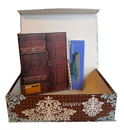 """A2-The Original-Dream Dream, Hope, Inspire: This beautiful blue, brown and white tab box contains Paperblanks Lussuria Ultra Wrap lined 7"""" x 9"""" journal, 5"""" gold or silver glitter pen, and 4 1/2"""" metal bookmark with green r"""