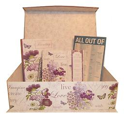 """B4-Business Class-Live, Love, Laugh Live, Love, Laugh with this beautiful purple and white tab box. Contains a matching journal and weekly organizer. You will also receive a 5"""" gold or silver glitter pen, and a magnetic shopping list pa"""
