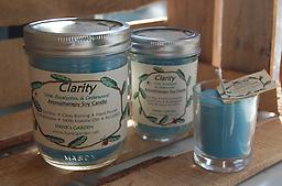 CLARITY Aromatherapy Soy Candle-25% off Clean Burning Soy Candles with 100% Pure Essential Oils of LIME, EUCALYPTUS & CEDARWOOD. Turquoise candle with Fresh/Herbal Aroma!