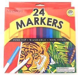 24 Fine Tip Markers 24 Fine Tip Markers in a variety of colors for doodling, coloring and expressing yourself!