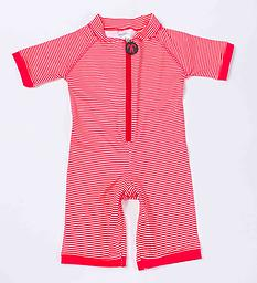 Ducksday Summer Surfsuit - Red Stripe Ducksday Surfsuits are soft, suitable for salt or chlorinated water, and provide protection from harmful UV rays. Snaps inside the leg make dressing and changes easier, especially wet!