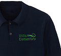 **Willis Elementary Gecko Logo Polo Shirt (Cotton/Poly) - Willis Elementary's Gecko Polo Shirt (Cotton/Poly Blend) available in 3 colors: Navy, Light Blue & White