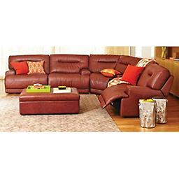 Macy 039 S Ricardo Cognac Leather Quad Reclining Sectional Sofa Set