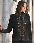 Alpaca Garden Moonflowers Sweater - So pretty! A cascading row of blossoms down the front of a midnight backdrop!