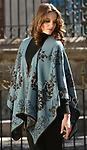 Ruana: Rev. Blue Tapestry in Alpaca - A beautiful hand-embroidered ruana with a twist! Reversible rich tones of light-blue and dark chocolate brown on the reverse side. One size fits most. 50% Alpaca - 50% Acrylic