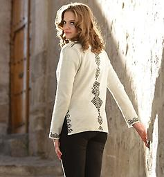 Alpaca Black Dynasty Reversible Sweater! Reversible! The versatility of the Black Dynasty Reversible Alpaca Tunic cardigan. Contrasting black and white, adorned with front and back diamond shaped patterns.