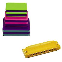 LP Percussion 3 Piece Box Shakers Rhythm & Fine Motor Skills Toy w/Hohner Kids BPA FREE Translucent Package includes LP Percussion 3 Piece Box Shakers w/Hohner Kids BPA FREE Translucent Yellow Harmonica.