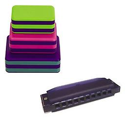 LP Percussion 3 Piece Box Shakers Rhythm & Fine Motor Skills Toy w/Hohner Kids BPA FREE Translucent Package includes LP Percussion 3 Piece Box Shakers w/Hohner Kids BPA FREE Translucent Purple Harmonica.