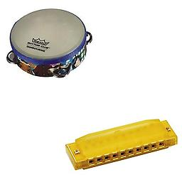 Remo Rhythm Club Kids Tambourine Deluxe w/Hohner Kids BPA FREE Translucent Yellow Harmonica Package includes Remo Rhythm Club Kids Tambourine Deluxe w/Hohner Kids BPA FREE Translucent Yellow Harmonica.