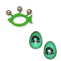 Hohner Kids Green Fish Animal Jingle Bells Deluxe w/ Green Rhythm Percussion Egg Shakers Pair Package includes Hohner Kids Green Fish Animal Jingle Bells Deluxe w/ Green Rhythm Percussion Egg Shakers Pair.