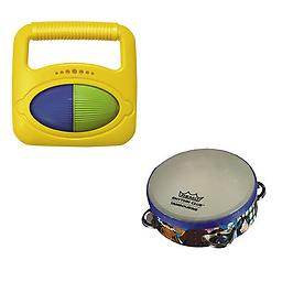 Toddler Music Toys, Rhythm & Fine Motor Skills Toys - Hohner Musical Shapes (Square) + Remo Rhythm C Package includes Hohner Musical Shapes (Square) + Remo Rhythm Club Tambourine.