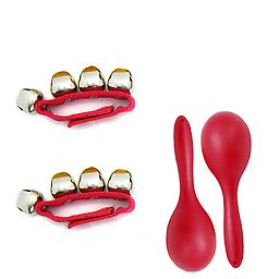 Children's Rhythm Toys - Rhythm Band Pair of Red Wrist Bells + Maraca Pair Package includes 2 Red wrist bells and 2 Red maracas.