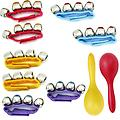 Pre-School & Day Care Supplies - Music Class Pack of 8 Wrist Bells + Maraca Pair - Package includes 2 red wrist bells, 2 yellow wrist bells, 2 purple wrist bells, 2 blue wrist bells and 1 pair of maracas (1 red and one yellow).