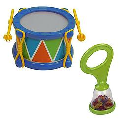 Baby Drum Musical Toy - Fine/Gross Motor Skills Toy w/BPA FREE Baby Maraca Package includes blue baby drum and 1 Hohner baby maraca.