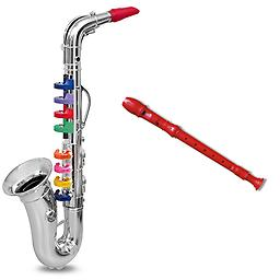 Toy Woodwind Instrument Pack - Includes Toy Saxophone & Recorder Package includes saxophone & Red Recorder.