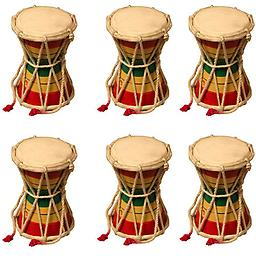 "Premium Quality Party Favors 6 Pack of Two Sided Mini Hand Held Drums 4""x6"" Package includes 6 Damroo drums."