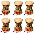 "Premium Quality Party Favors 6 Pack of Two Sided Mini Hand Held Drums 4""x6"" - Package includes 6 Damroo drums."