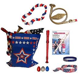 4th of July Parade Pack for Kids - Music & Fun Pack A 4th of July Parade Pack for Kids - Patriotic USA Music & Fun Pack Includes: Patriotic Bag, French Horn Kazoo, Red White & Blue Lei, Stars & Stripes Bandana, Flag Bracelet, Red Recorder, Patriotic Reco