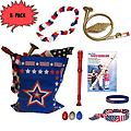 4th of July Parade Pack for Kids - Music & Fun Pack A (X3) - 4th Of July Parade Pack for Kids - Patriotic USA Music & Fun Pack Includes: 3 PACK of Patriotic Bag, French Horn Kazoo, Red White Blue Lei, Stars & Stripes Bandana, Flag Bracelet, Red Recorder, Patrio