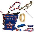 4th of July Parade Pack for Kids - Music & Fun Pack C - 4th Of July Parade Pack for Kids - Patriotic USA Music & Fun Pack Includes: Patriotic Bag, Trumpet Kazoo, Red White Blue Lei, Stars & Stripes Bandana, Flag Bracelet, White Flutophone, Tambourine, Blue