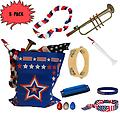 4th of July Parade Pack for Kids - Music & Fun Pack C (X3) - 4th Of July Parade Pack for Kids - Patriotic USA Music & Fun Pack Includes: 3 PACK of Patriotic Bag, Trumpet Kazoo, Red White Blue Lei, Stars & Stripes Bandana, Flag Bracelet, White Flutophone, Tambou