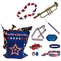 4th of July Parade Pack for Kids - Music & Fun Pack D - 4th Of July Parade Pack for Kids - Patriotic USA Music & Fun Pack Includes: Patriotic Bag, Trumpet Kazoo, Red White Blue Lei, Stars & Stripes Bandana, Flag Bracelet, Blue Magic Flute, Triangle, Blue L