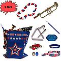 4th of July Parade Pack for Kids - Music & Fun Pack D (X3) - 4th Of July Parade Pack for Kids - Patriotic USA Music & Fun Pack Includes: 3 PACK of Patriotic Bag, Trumpet Kazoo, Red White Blue Lei, Stars & Stripes Bandana, Flag Bracelet, Blue Magic Flute, Triang