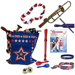 4th of July Parade Pack for Kids - Music & Fun Pack F 4th Of July Parade Pack for Kids - Patriotic USA Music & Fun Pack Includes: Patriotic Bag: Trombone Kazoo, Red White Blue Lei, Stars & Stripes Bandana, Flag Bracelet, Red Recorder, Blue Tone Block, Pa
