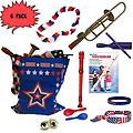 4th of July Parade Pack for Kids - Music & Fun Pack F (X6) - 4th Of July Parade Pack for Kids - Patriotic USA Music & Fun Pack Includes: 6 PACK of Patriotic Bag: Trombone Kazoo, Red White Blue Lei, Stars & Stripes Bandana, Flag Bracelet, Red Recorder, Blue Tone