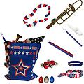 4th of July Parade Pack for Kids - Music & Fun Pack I - 4th Of July Parade Pack for Kids - Patriotic USA Music & Fun Pack Includes: Patriotic Bag, Trombone Kazoo, Red White Blue Lei, Stars & Stripes Bandana, Flag Bracelet, Blue Magic Flute, Red Jingle Bell