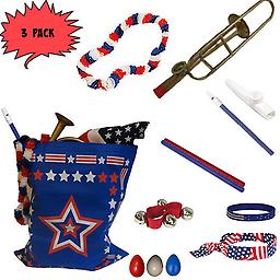4th of July Parade Pack for Kids - Music & Fun Pack I (X3) 4th Of July Parade Pack for Kids - Patriotic USA Music & Fun Pack Includes: 3 PACK of Patriotic Bag, Trombone Kazoo, Red White Blue Lei, Stars & Stripes Bandana, Flag Bracelet, Blue Magic Flute, Red J
