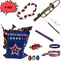 4th of July Parade Pack for Kids - Music & Fun Pack I (X6) - 4th Of July Parade Pack for Kids - Patriotic USA Music & Fun Pack Includes: 6 PACK of Patriotic Bag, Trombone Kazoo, Red White Blue Lei, Stars & Stripes Bandana, Flag Bracelet, Blue Magic Flute, Red J