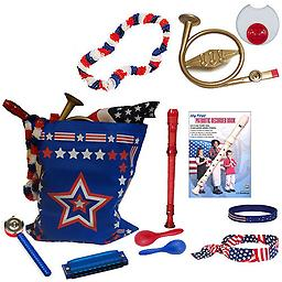 4th of July Parade Pack for Kids - Music & Fun Pack J 4th Of July Parade Pack for Kids - Patriotic USA Music & Fun Pack Includes: Patriotic Bag, French Horn Kazoo, Red White Blue Lei, Stars & Stripes Bandana, Flag Bracelet, Red Recorder, Patriotic Record