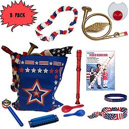 4th of July Parade Pack for Kids - Music & Fun Pack J (X3) 4th Of July Parade Pack for Kids - Patriotic USA Music & Fun Pack Includes: 3 PACK of Patriotic Bag, French Horn Kazoo, Red White Blue Lei, Stars & Stripes Bandana, Flag Bracelet, Red Recorder, Patrio