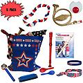 4th of July Parade Pack for Kids - Music & Fun Pack J (X3) - 4th Of July Parade Pack for Kids - Patriotic USA Music & Fun Pack Includes: 3 PACK of Patriotic Bag, French Horn Kazoo, Red White Blue Lei, Stars & Stripes Bandana, Flag Bracelet, Red Recorder, Patrio