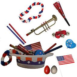 4th of July Parade Pack for Kids - Music & Fun Pack A1 4th Of July Parade Pack for Kids - Patriotic USA Music & Fun Pack Includes: Patriotic Party Hat: Red White & Blue Lei, Red Party Horn, American Flag, Trumpet Kazoo, Red Wrist Bell, Red & Blue Rhythm S