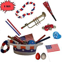 4th of July Parade Pack for Kids - Music & Fun Pack A2 (X3) 4th Of July Parade Pack for Kids - Patriotic USA Music & Fun Pack Includes: 3 Pack of Patriotic Party Hat: Red White & Blue Lei, Red Patriotic Party Horn, American Flag, Trumpet Kazoo, Red Wrist Bell,