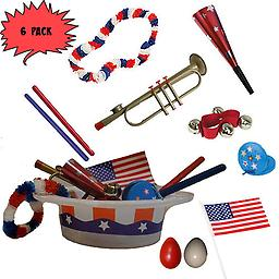 4th of July Parade Pack for Kids - Music & Fun Pack A3 (X6) 4th Of July Parade Pack for Kids - Patriotic USA Music & Fun Pack Includes: 6 Pack of Patriotic Party Hat: Red White & Blue Lei, Red Party Horn, American Flag, Trumpet Kazoo, Red Wrist Bell, Red & Blu
