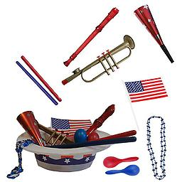 4th of July Parade Pack for Kids - Music & Fun Pack B1 4th Of July Parade Pack for Kids - Patriotic USA Music & Fun Pack Includes: Patriotic Party Hat: Blue Beaded USA Necklace, Red Party Horn, Trumpet Kazoo, Red & Blue Rhythm Sticks, Red Recorder, Blue &